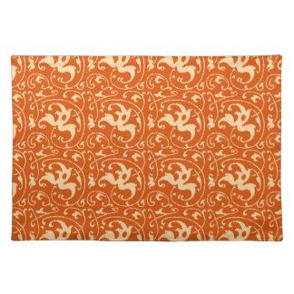 Ikat Floral Damask - Mandarin Orange Placemat