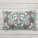 Ikat Floral Damask Tuquoise and brown Outdoor Cushion