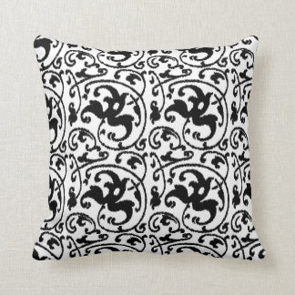 Ikat Floral Damask - White and Black Throw Cushions