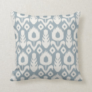 Ikat Floral Pattern Light Blue and Natural Cushion