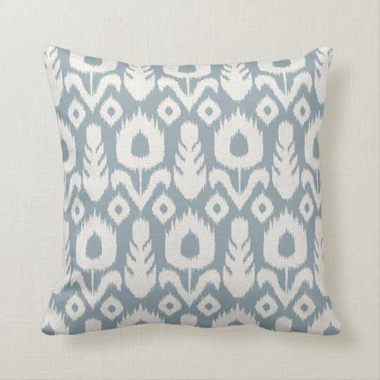 Ikat Floral Pattern Light Blue and Natural Throw