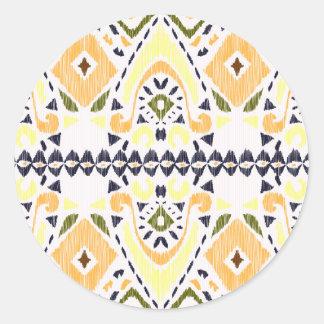 Ikat Line Round Stickers