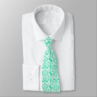 Ikat Moorish Damask - aqua and white Tie