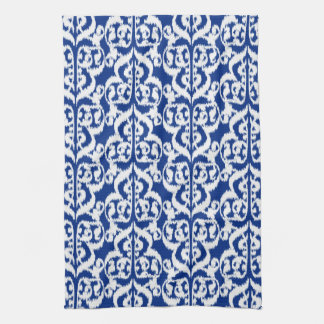 Ikat Moorish Damask - cobalt blue and white Tea Towel