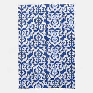 Ikat Moorish Damask - cobalt blue and white Tea Towels
