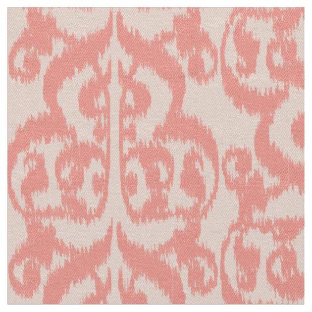 Ikat Moorish Damask Peach And Coral Pink Fabric Zazzle
