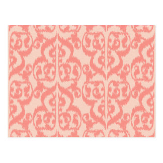 Ikat Moorish Damask - peach and coral pink Postcards