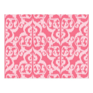 Ikat Moorish Damask - shades of coral pink Post Cards
