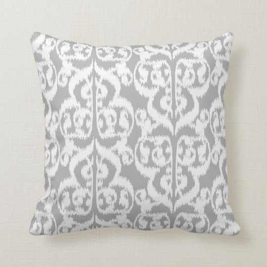 Ikat Moorish Damask - silver grey and white