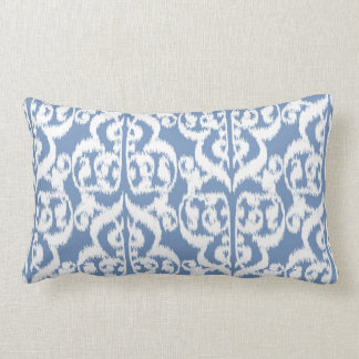Ikat Moorish Damask - sky blue and white Lumbar Pillow