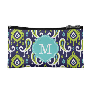 Ikat Paisley Custom Monogram Cosmetic Bag