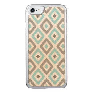 Ikat Patern Aqua and Grey Diamond Carved iPhone 8/7 Case