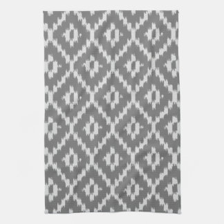 Ikat pattern - Charcoal and silver grey Tea Towel