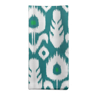 Ikat Peacock Feather Floral Blue Green Cloth Napkins