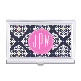Ikat & Pink Monogram Business Card Holder