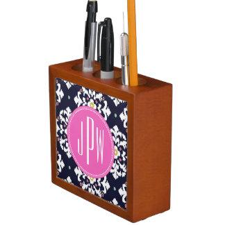 Ikat Pink Monogram Desk Organizer Pencil/Pen Holder