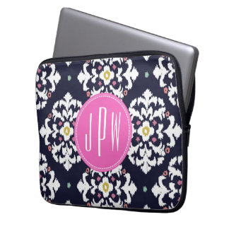 Ikat & Pink Monogram Laptop Sleeve