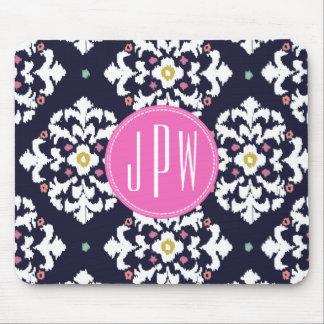 Ikat & Pink Monogram Mousepad