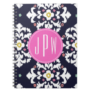 Ikat & Pink Monogram Spiral Notebooks