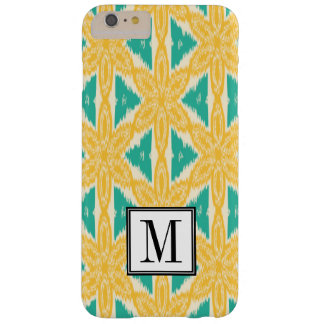 Ikat Print Yellow and Teal Initial Monogram Barely There iPhone 6 Plus Case