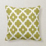 Ikat Quatrefoil Pattern Chartreuse Green Cushion