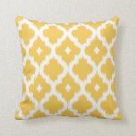 Ikat Quatrefoil Pattern Golden Yellow Cushion