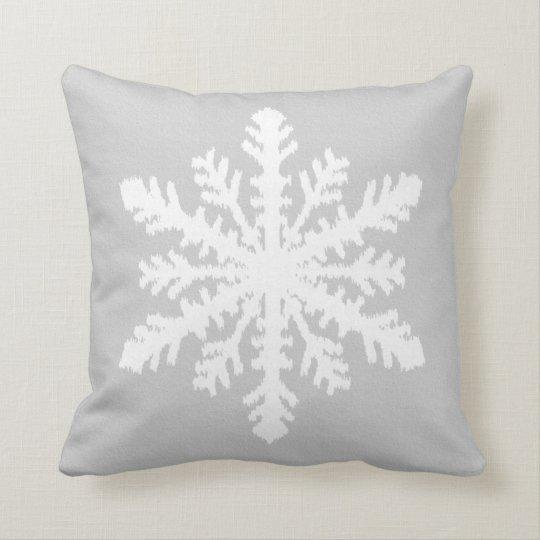 Ikat Snowflake - Silver grey and white Cushion