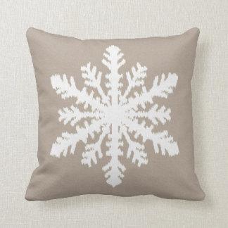Ikat Snowflake - Taupe tan and white Cushion