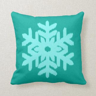 Ikat Snowflake - Turquoise and aqua Throw Pillow