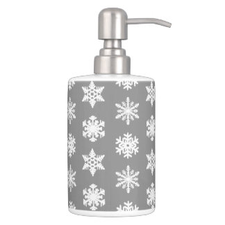 Ikat Snowflakes - Charcoal Grey and White Soap Dispenser And Toothbrush Holder