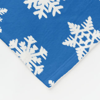 Ikat Snowflakes - Cobalt blue and white Fleece Blanket