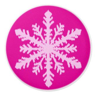 Ikat Snowflakes - Fuchsia and ice pink Ceramic Knob