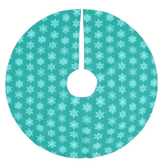 Ikat Snowflakes - Turquoise and aqua Brushed Polyester Tree Skirt