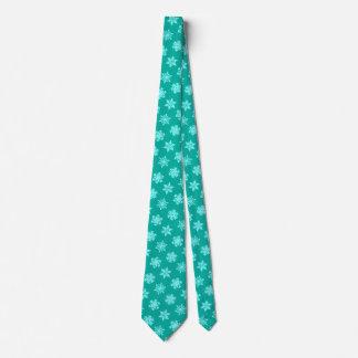Ikat Snowflakes - Turquoise and aqua Tie