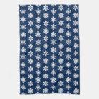 Ikat Snowflakes - White and Dark Navy Blue Tea Towel