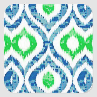 Ikat Tile in Blue and Green Square Sticker