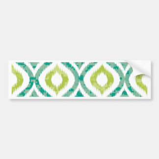 Ikat,tribal,green,yellow,white,trendy,pattern,cute Bumper Sticker