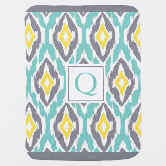 Ikat Tribal Monogram aqua yellow grey Baby Blanket