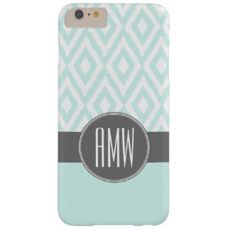 Ikat Tribal Pattern Custom  Monogram Mint and Grey Barely There iPhone 6 Plus Case