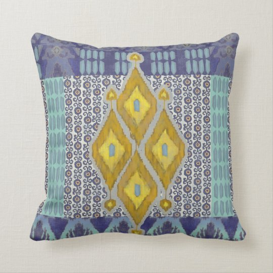 IKAT Uzbekistan Vintage Tribal Pattern Navy Yellow Cushion