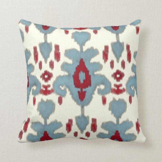IKAT Uzbekistan Vintage Tribal Pattern Red Blue Cushion