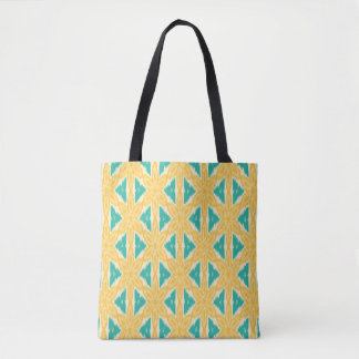 Ikat Yellow and Teal Print Tote Bag