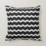 Ikat Zigzag Pattern Black Cushion