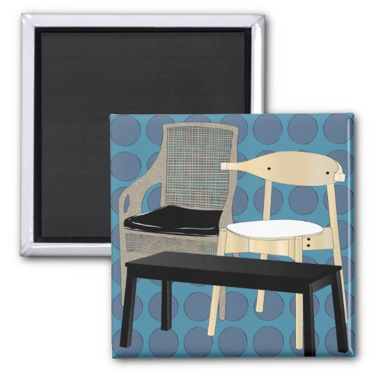 Ikea Furniture Chairs Blue Magnet
