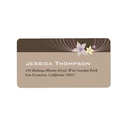 Ikebana Frangipani Purple Tropical Flowers Wedding Address Label