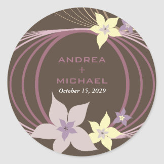Ikebana Frangipani Purple Tropical Flowers Wedding Round Sticker