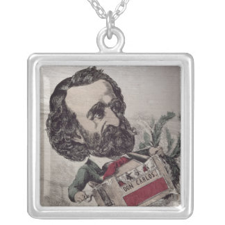 Il Maestro', caricature of the Italian Square Pendant Necklace