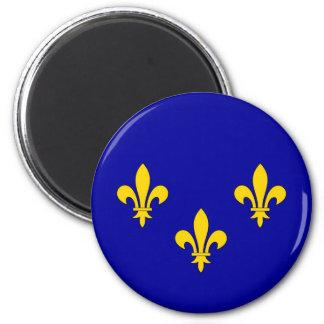 Ile de France region flag 6 Cm Round Magnet