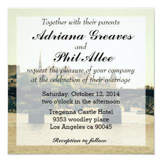 Ile De La Cite, Pont Des Arts in Paris, France 13 Cm X 13 Cm Square Invitation Card