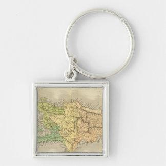Ile St. Domingue or Haiti Silver-Colored Square Key Ring